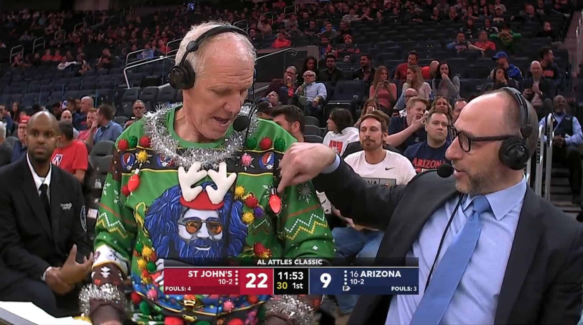 Bill Walton maglione natalizio circo NCAA